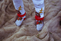Fluffy Robin Christmas Socks - souzu.co.uk
