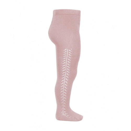 Condor Side Openwork Warm Pale Pink Tights - souzu.co.uk