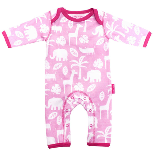 Pink Jungle Sleepsuit - souzu.co.uk