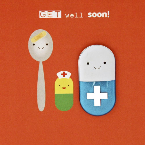 Get well soon pill magnetic card - souzu.co.uk