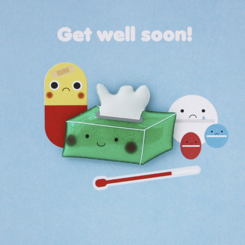 Get well soon tissue magnetic card - souzu.co.uk