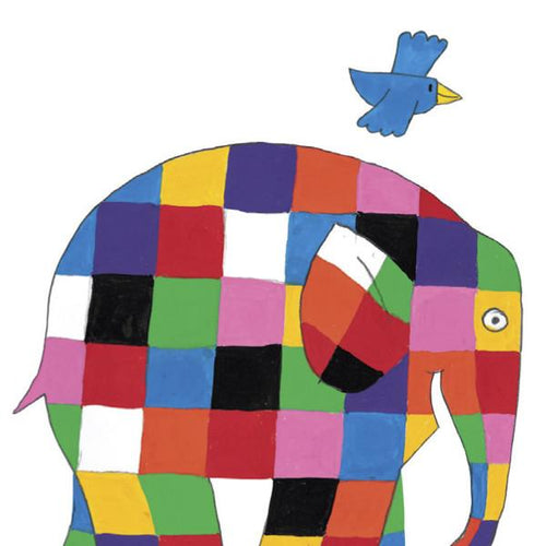Elmer with Bird Minicard - souzu.co.uk
