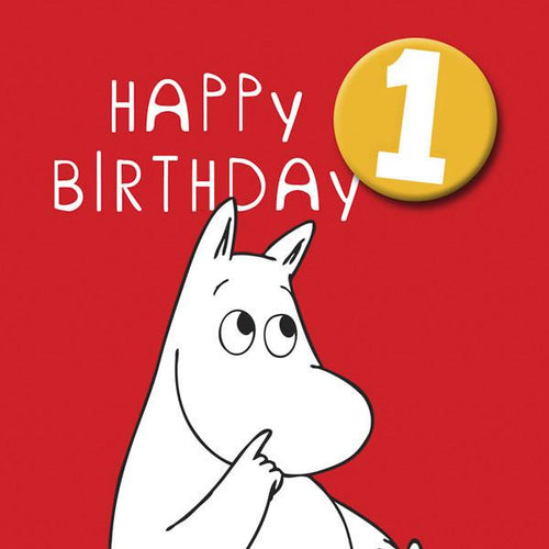 Moomin Birthday Card Age 1 with Badge
