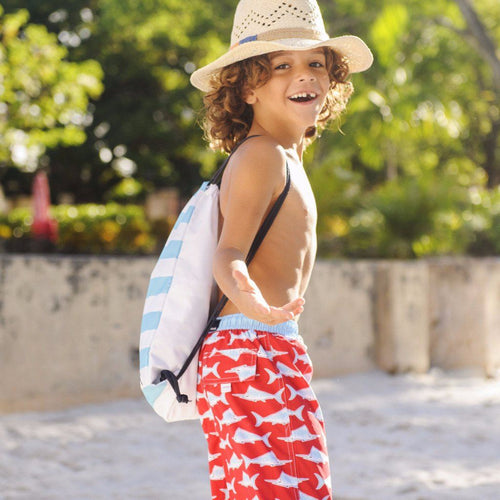 Red Swordfish Board Shorts - souzu.co.uk