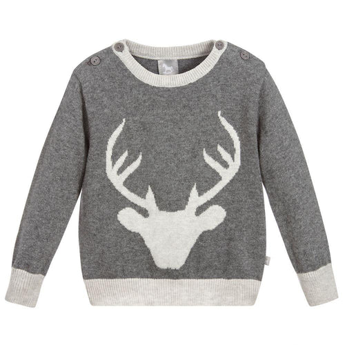 Cotton Cashmere Stag Jumper - souzu.co.uk