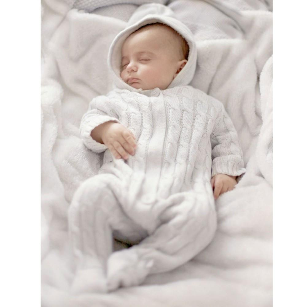Grey Cashmere Knitted Pramsuit - souzu.co.uk