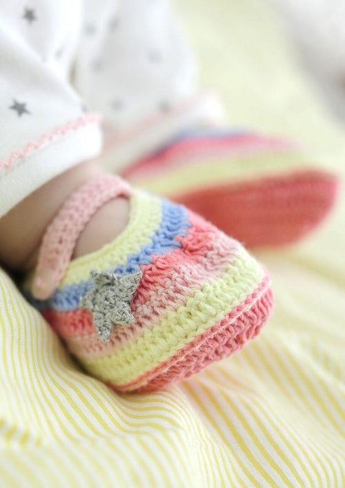 Rainbow Crochet Booties in box - souzu.co.uk