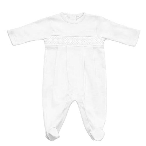 White Smocked Babygrow - souzu.co.uk