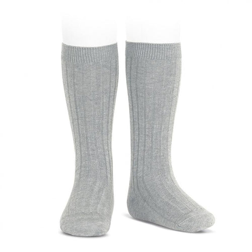 Condor Wide Ribbed Cotton Knee-High Aluminium Socks - souzu.co.uk