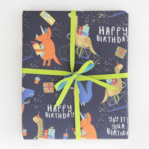 Dinosaurs Party Time Gift Wrapping - Caroline Gardner