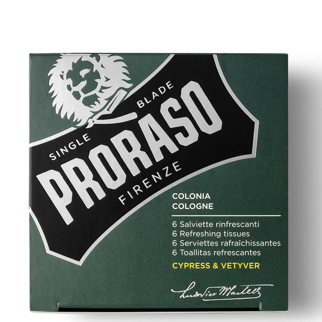 proraso refreshing tissues - cypress & vetyver