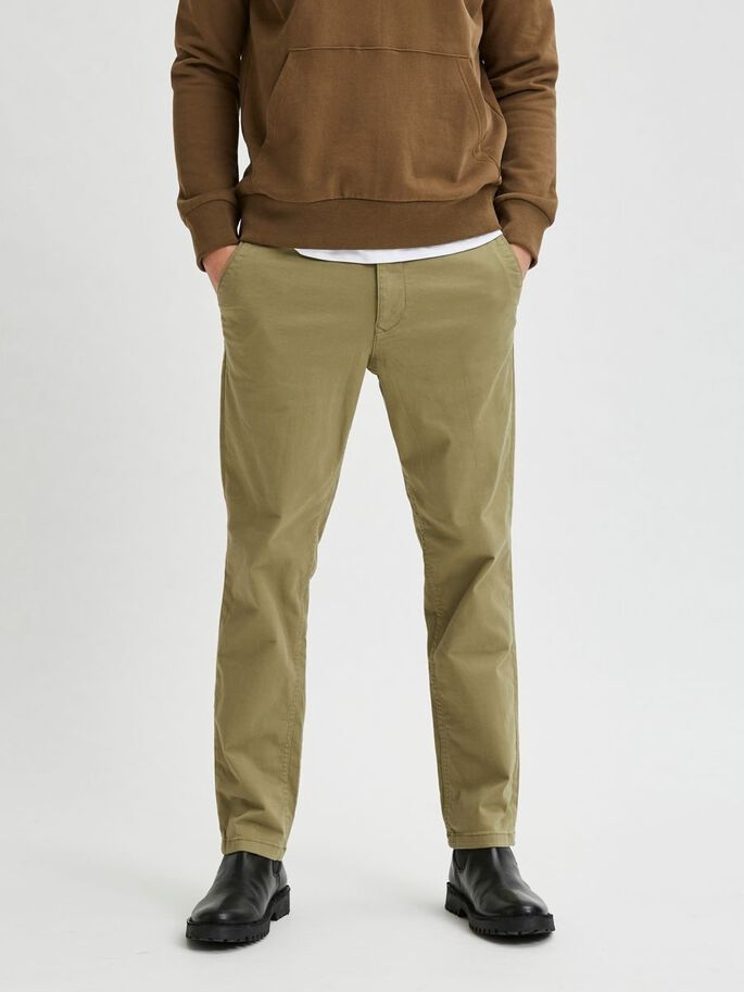 straight fit flex chinos - green/aloe