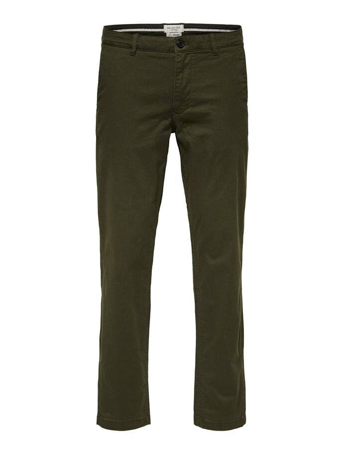 straight fit flex chinos - forest green