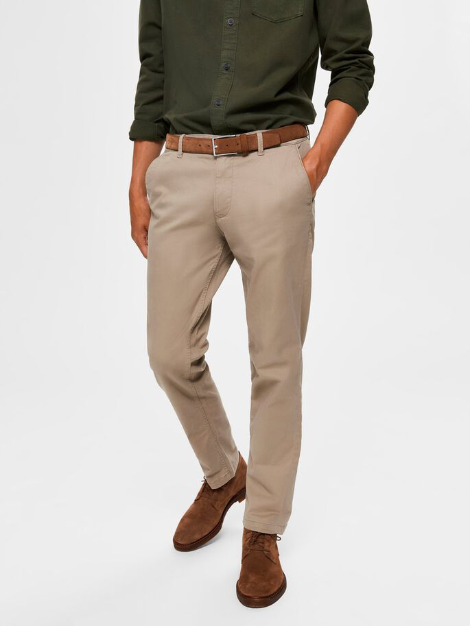straight fit flex chinos - greige