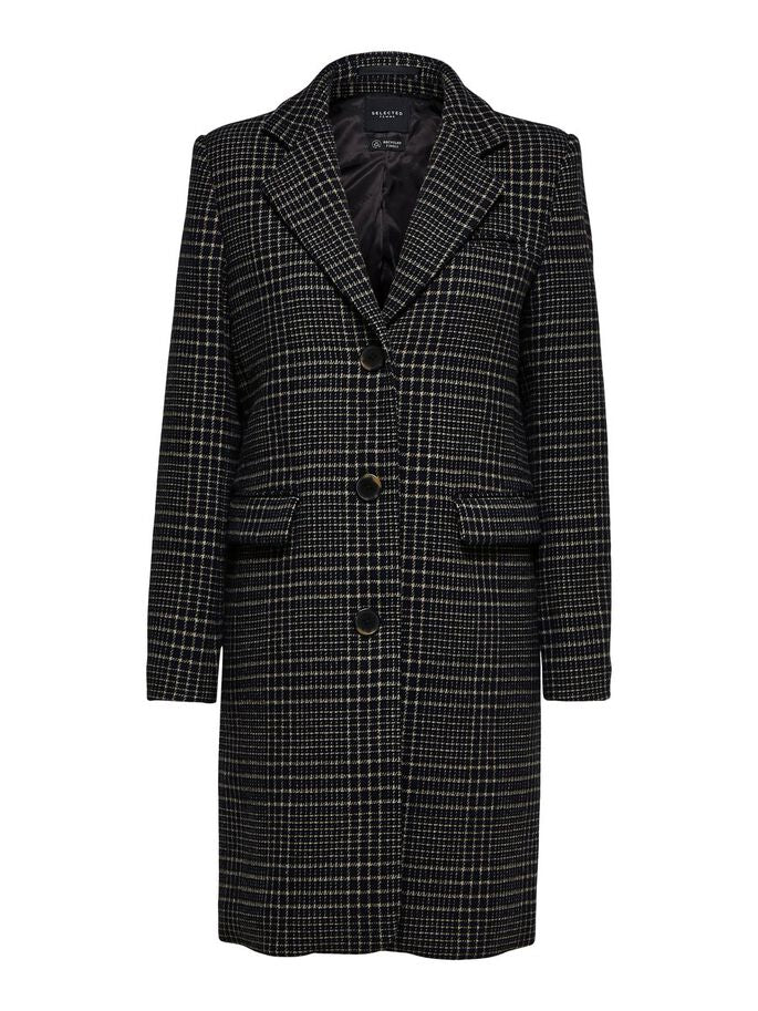 checked single breasted coat