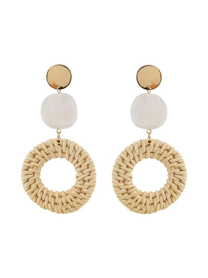 straw drop pendant earrings