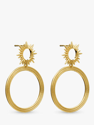 electric goddess front facing hoop earrings - gold
