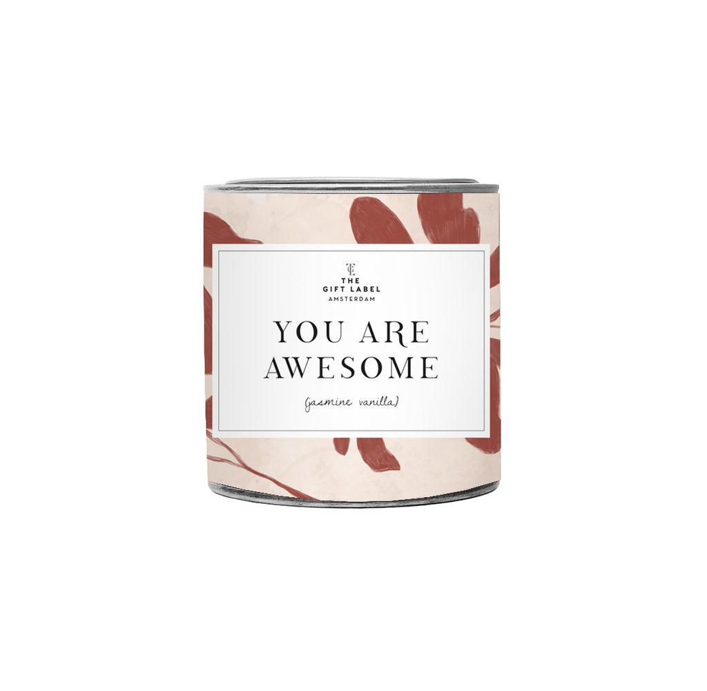 The Gift Label -  you are awesome Jasmine Vanilla Large Scented Candle Tin