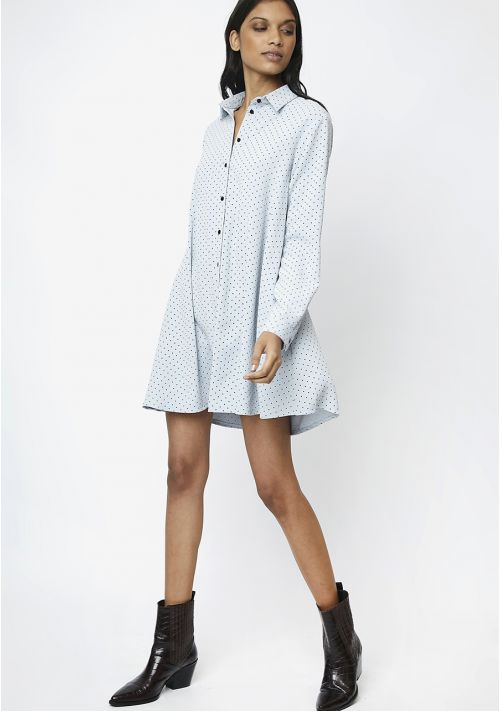 blue polka dot shirt dress