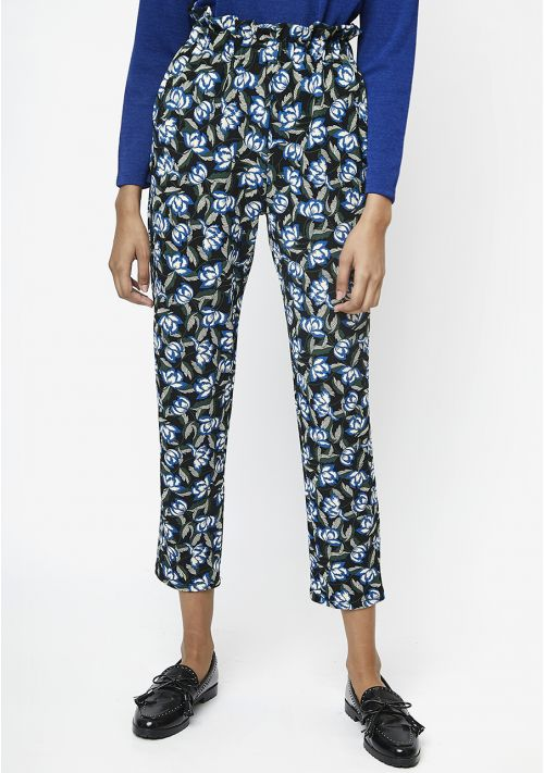 blue floral paper bag top trousers