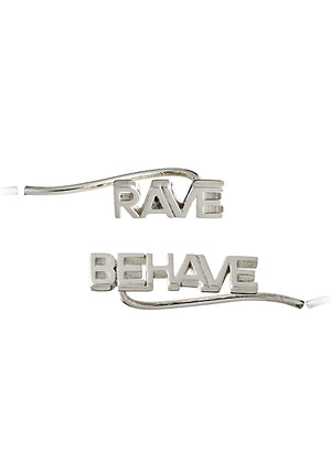 rave/behave crawler earrings - silver