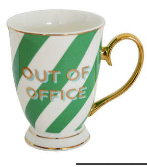 Typography phrase mugs stripes - out of office mug
