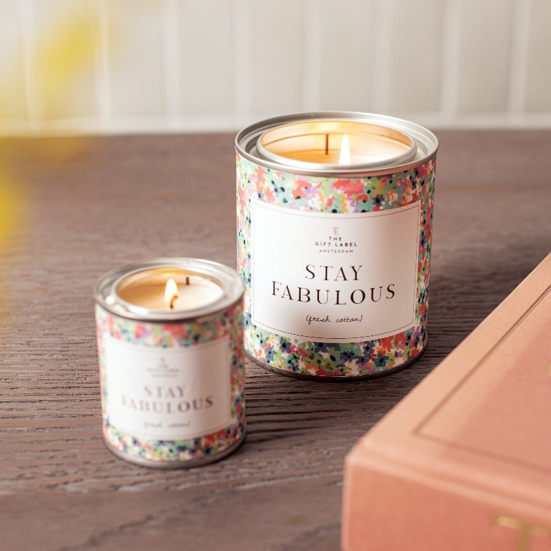 The Gift Label -  Stay Fabulous, Jasmine Vanilla Small Scented Candle Tin