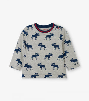 moose silhouette long sleeve baby t-shirt