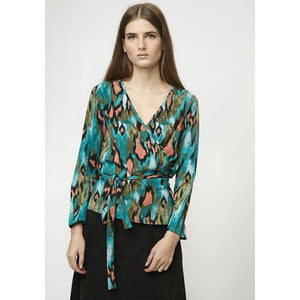 watercolour wrap blouse