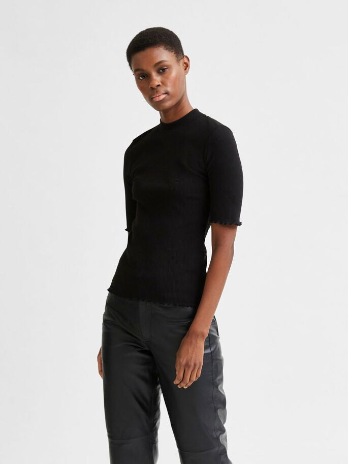 crew neck ribbed t-shirt - black