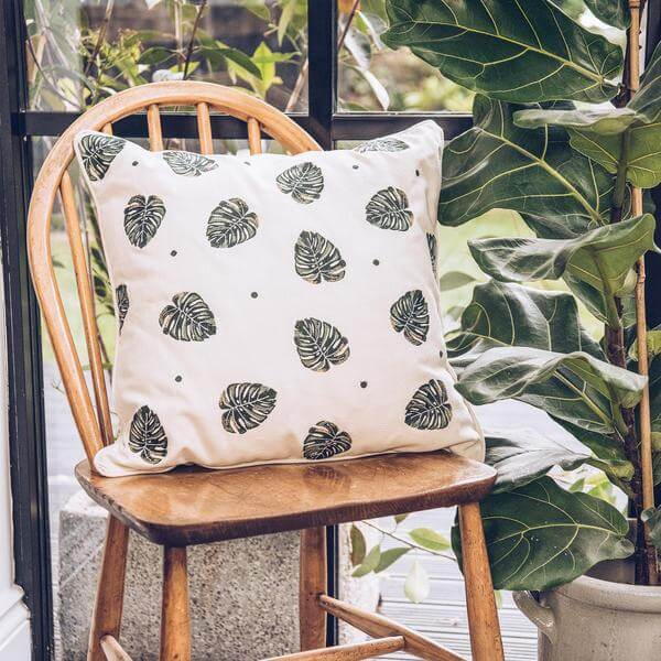 decorative embroidered jungle leaf natural cushion