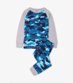 dino camo organic cotton raglan pj set