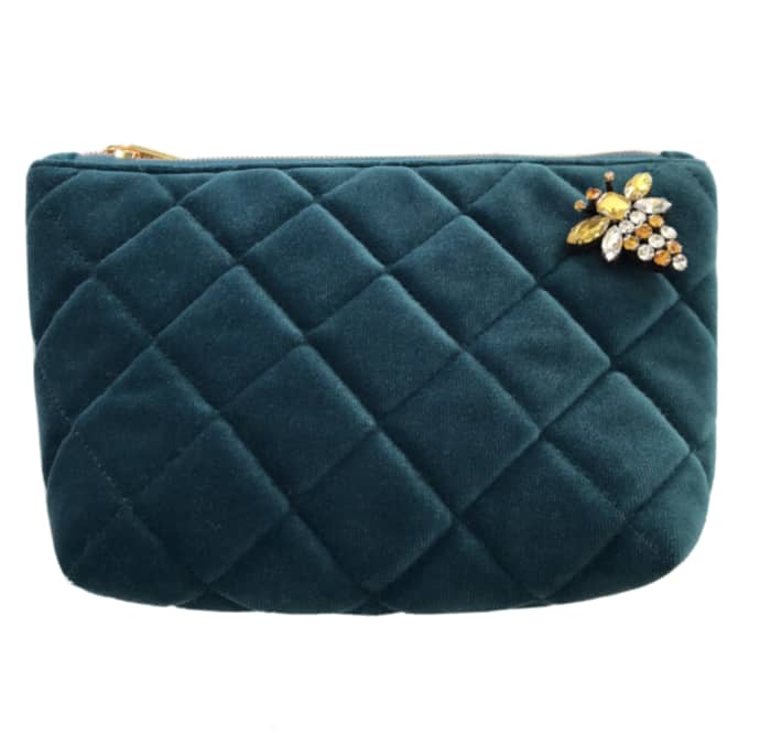 quilted velvet make up bag in teal