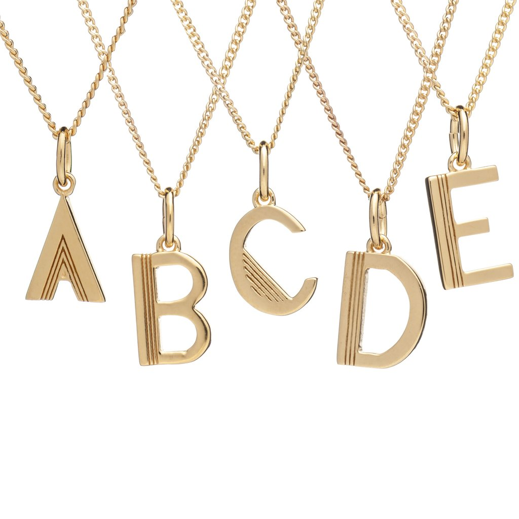 Art Deco initial necklace - 22 ct gold plated
