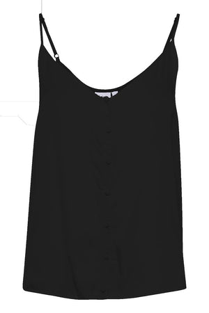 camisole top with buttons - black