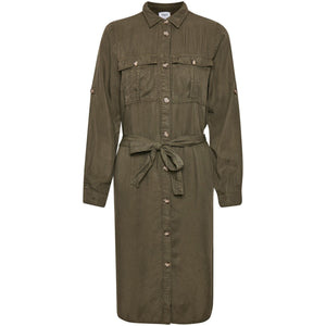 Military style shirt dress - khaki