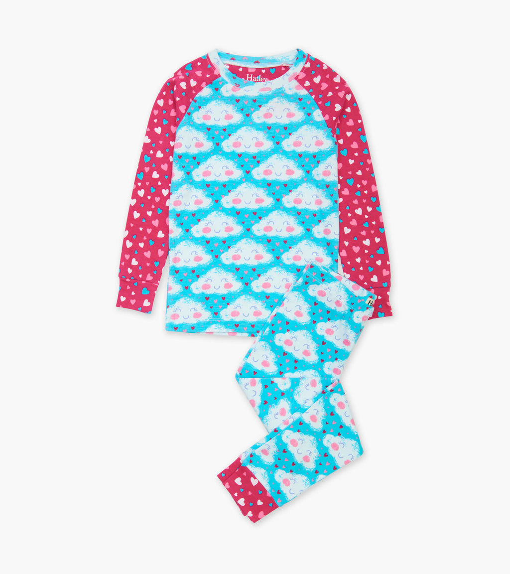 cheerful clouds organic cotton pjs set