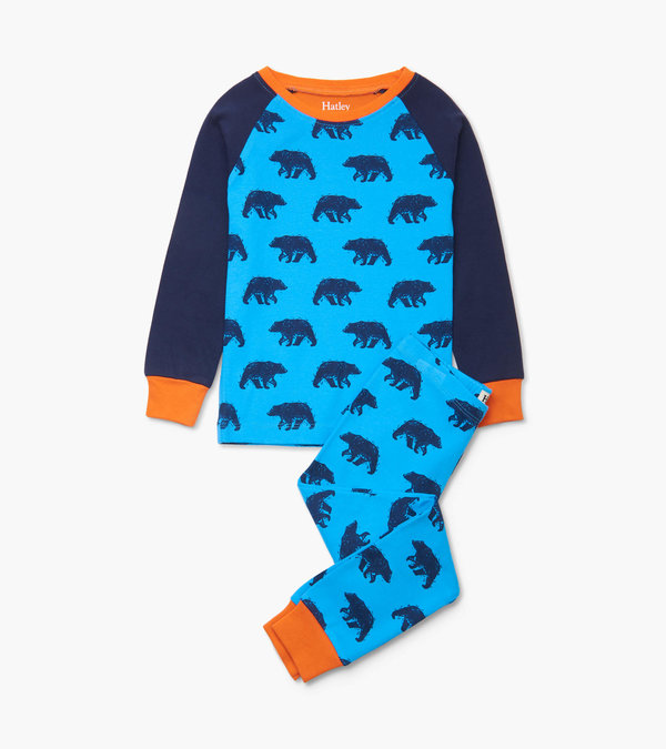 blue bears organic cotton raglan pj set