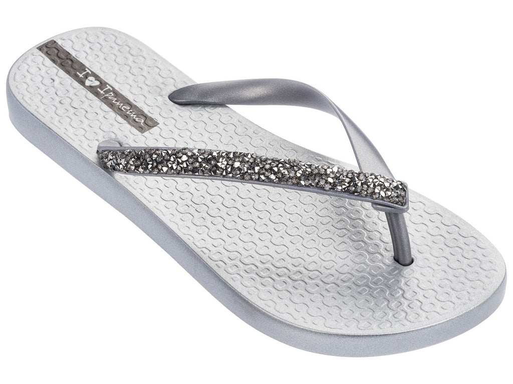 glam special crystal flip flop - silver