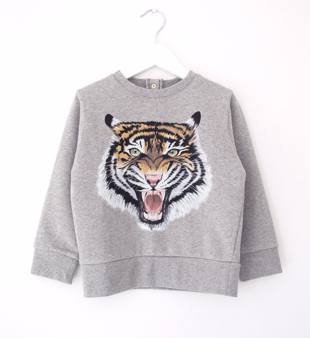children's tiger sweatshirt - grey marl