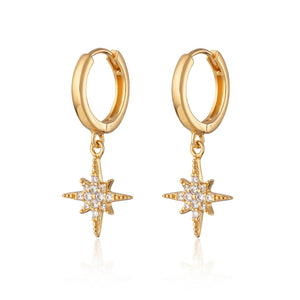 Starburst hoop earrings - Gold
