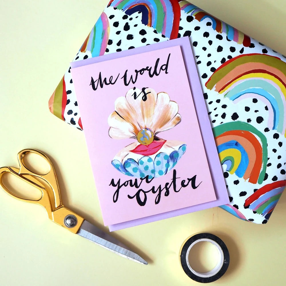 'The world is your oyster' greetings card