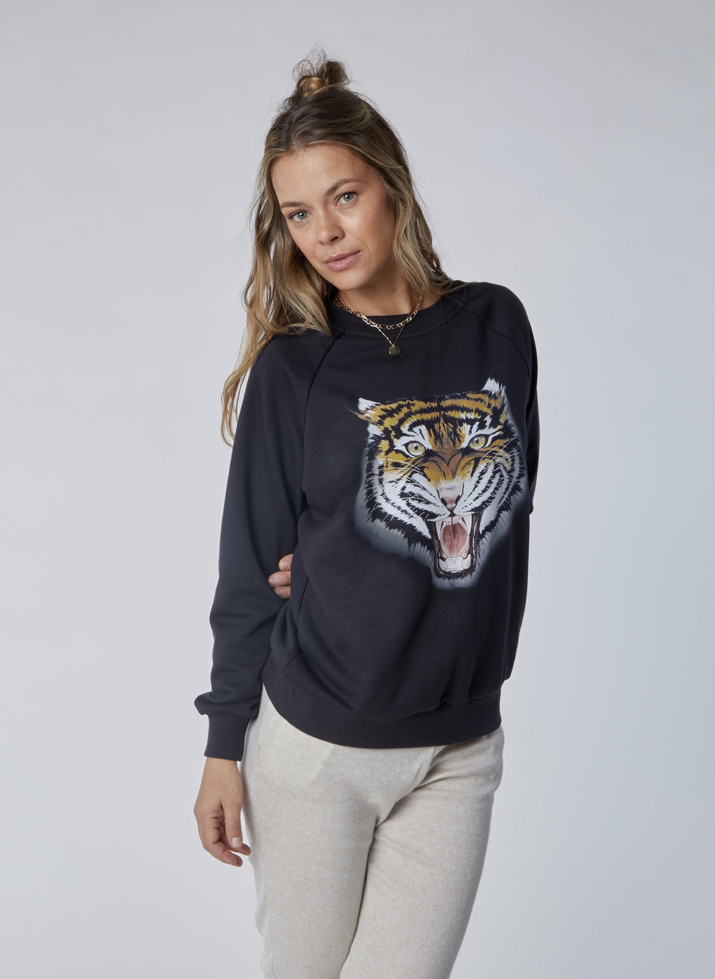 women's oversized charcoal tiger sweatshirt