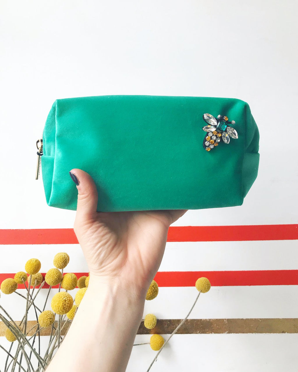 large marine green make-up bag