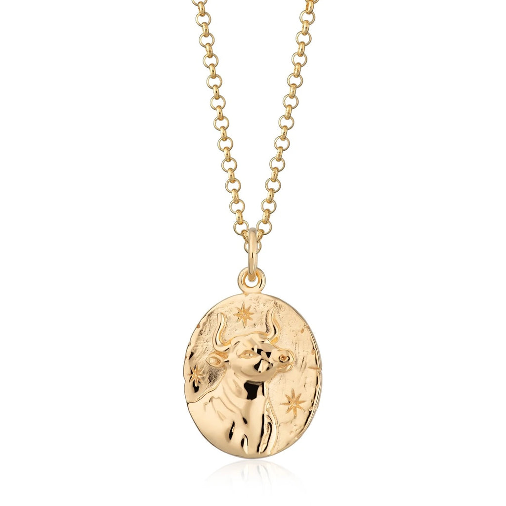 Taurus zodiac necklace- gold