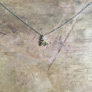 Bee pendant necklace - silver chain