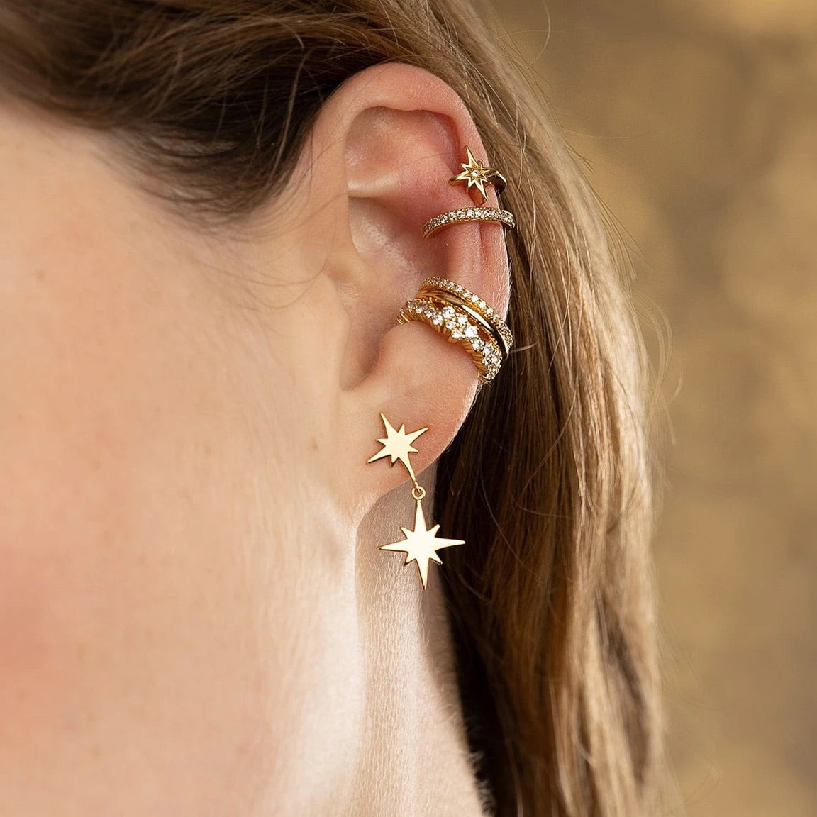 Star double band small ear cuff - Gold Plated