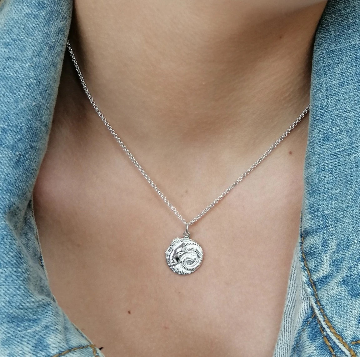 Aries Zodiac necklace - silver