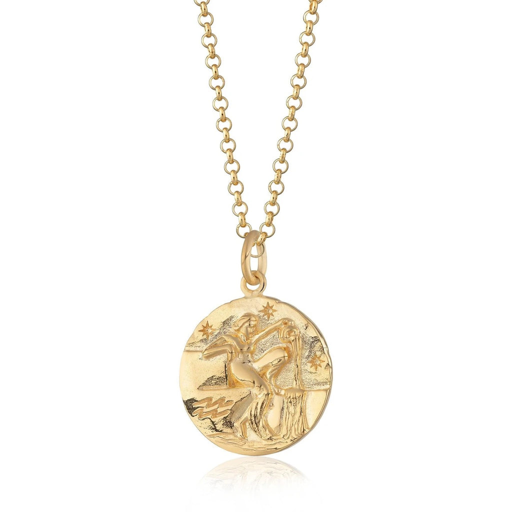 Aquarius zodiac necklace - gold