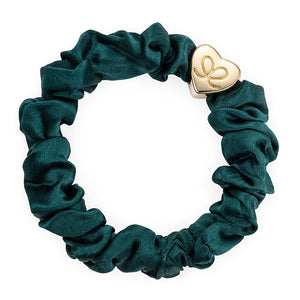 gold heart scrunchie in green